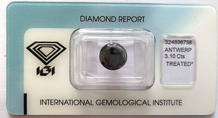 Natural Black Diamond 3.10 CT with IGI certificate***No minimum price***