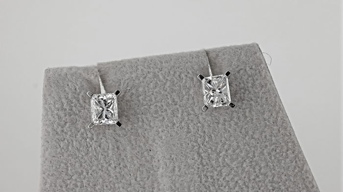 Solitaire Stud Earrings 1.44 carat TCW D/VS1 Princess Diamond in Solid White Gold 14K