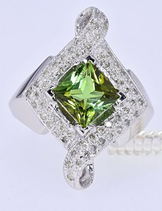 2.56 Ct Green Tourmaline with Diamonds, designer ring *NO RESERVE price!