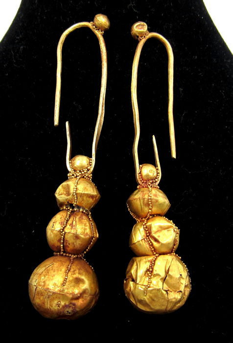 Pair of Medieval Viking Era Or Earrings with Filigree Decoration - 6.2-6.4cm - (2)