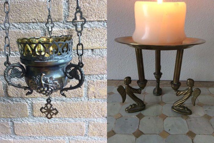 Old sanctuary lamp and a special tray with angels made of brass - 20th century