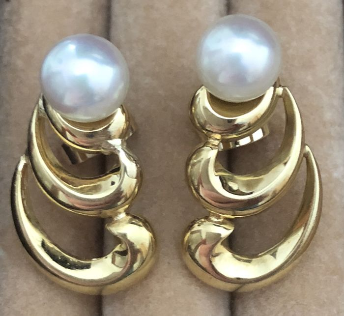 Pearl stud earring with Akoya cultured pearls approx. 7 mm