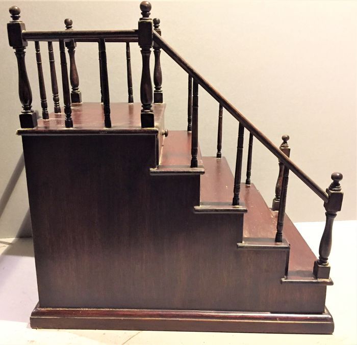 English Staircase Model   Skilfully Made Staircase Model, Probably Of  English Origin, With A Drawer In Each Step   Mid 20th Century