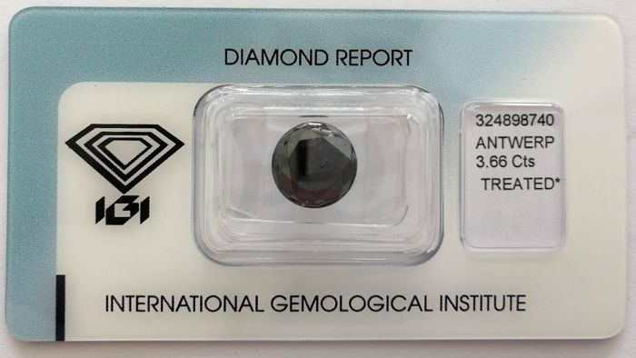 Natural Black Diamond 3.66 CT with IGI certificate***No minimum price***