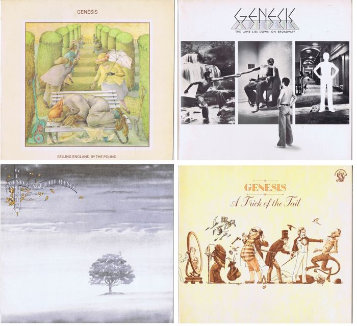 GENESIS - lot of 4 LPs: 1. Selling England By The Pound 2. Wind and Wuthering 3. A Trick Of The Tail 4. Lamb Lies Down On Broadway (2LP-set) all made in Germany