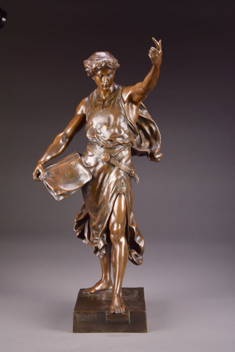 "Emile Louis Picault (1833-1915) - a large and beautiful bronze sculpture - titled ""Vincere"" - France - end of 19th century"