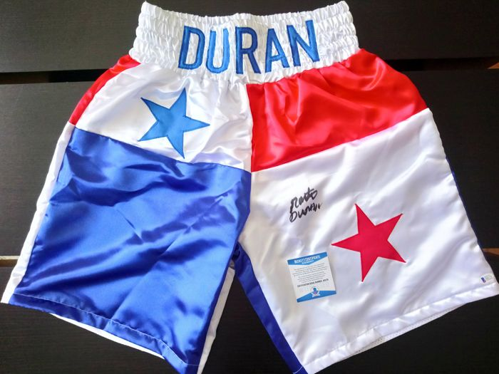 "Roberto ""Hands of Stone"" Duran original autographed boxing shorts / trunks + Certificate of Authenticity from Beckett BAS"