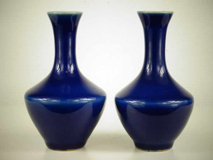Pair Of Cobalt Blue Vases China Early 20th C Catawiki
