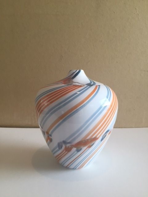 Charlie Meaker Glass Vase With Rolled In Broken Threads Of Glass