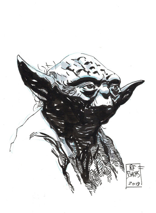 Yoda - Star Wars - Original Drawing - Ramon F. Bachs  - First edition
