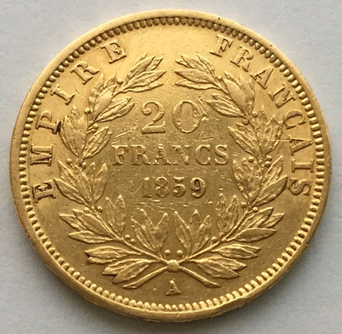 20 Francs 1859 A - Napoleon III. - Or
