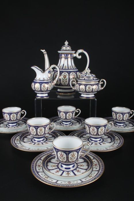 HUTSCHENREUTHER coffee service Gmelin royal blue Jubilee Edition 1989 - 6 Person Service limited 55 / 500