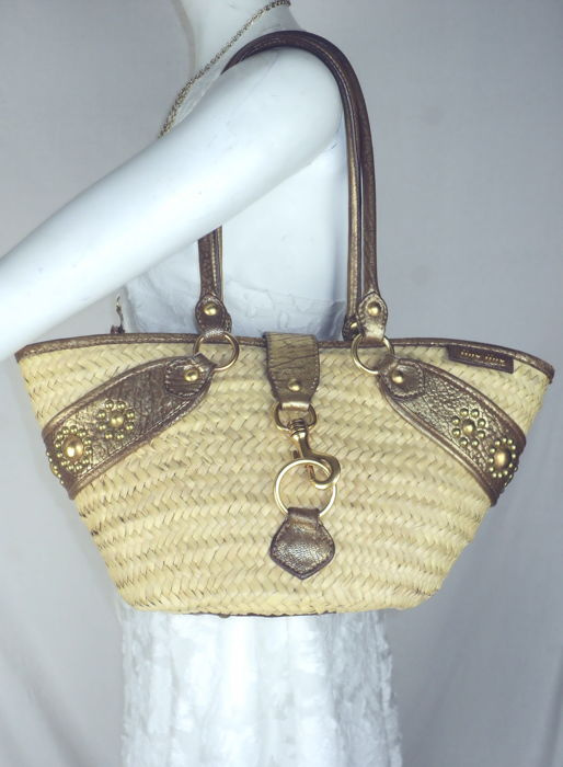 Miu Miu - Gold Leather & Straw Handtas