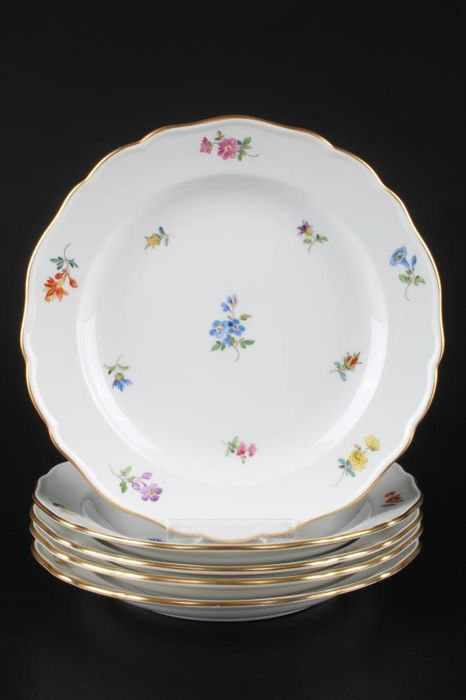 """Meissen - 5 large cake plate flowers and gold rim """"Ø18"""" scattered flowers"""