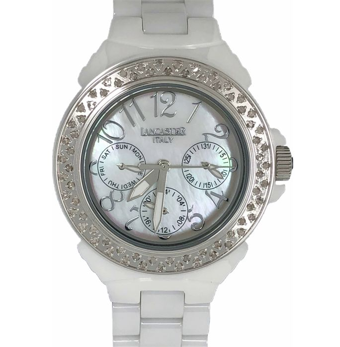 Lancaster - White Ceramic Diamonds 0.59ct Mother of Pearl Face - OLA0649SS/BN - Women - NEW
