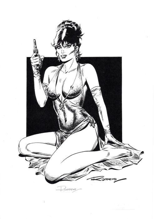 Sexy Modesty Blaise with her Gun - Original Limited Edition - Romero Signed and Sealed - First edition