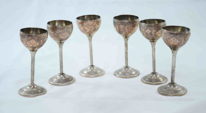 Lot  - 6 Goblets - 840 Silver - Hand Engravings - Iran - ca. 1920