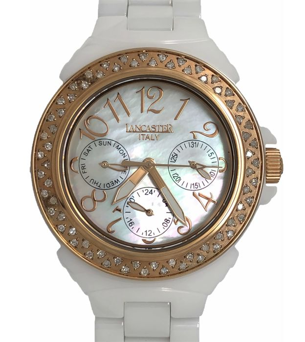 Catawiki Damen New Of Ola0649rgbn Lancaster Rose White Gold Diamonds Mother Pearl Ceramic LUGqSMVpz