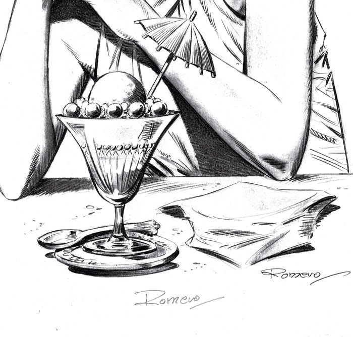 Modesty Blaise Ice-Cream - Lithography - Romero Signed and