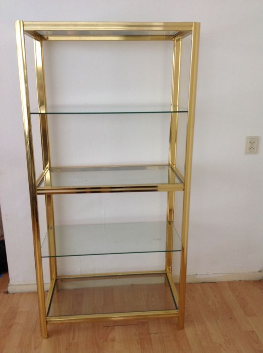 Brass etagere with glass plates - Hollywood Regency style - 1970s