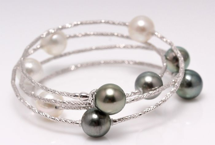 Magnificent Wrap Bracelet Featuring 9 South Sea and Tahitian Pearls Crafted in 18K White Gold - NO RESERVE PRICE