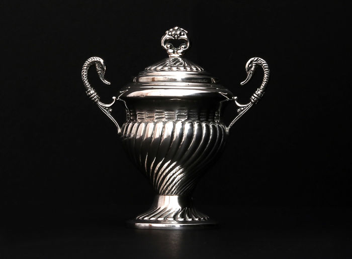 Silver two handle sugar bowl with swans-  Stancampiano Eugenio -  Palermo (Italy),  1944-1968