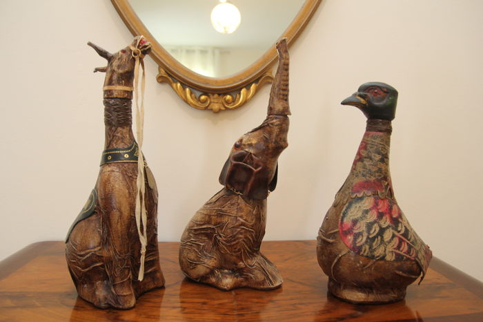 Trio of unique decanter bottles - vintage from the 60s - elephant, duck and donkey