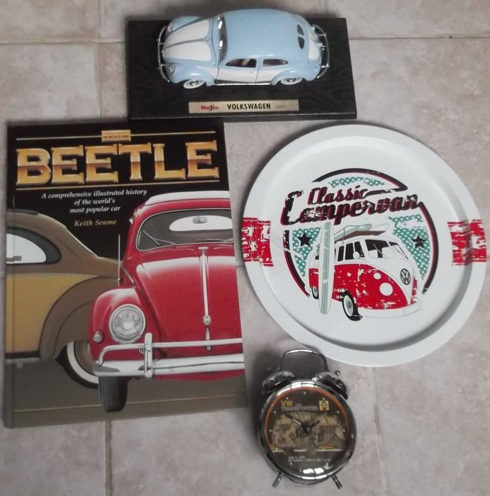Decorative object - 4x VW items Book tray display car alarm clock - 2000-2000 (4 items)