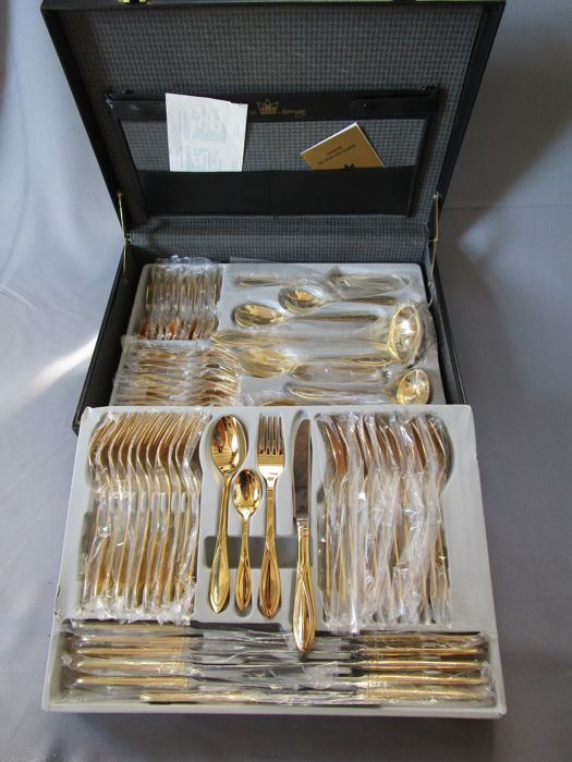 "SBS LUXURY cutlery - ""TOSCANA"" model - 12 people (70 pieces) - 23/24 karat gold plated - 1,000 pure gold - unused - original box"