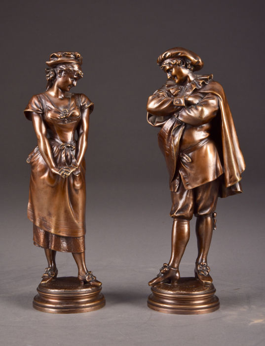 Léopold Harzé (1831-1893) - Compagnie des Bronzes de Bruxelles - A nice set of bronze sculptures titled 'Marinette' & 'Gros René' - Belgium - Second half of the 19th century