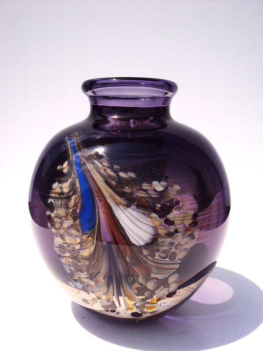 Maxence Parot - Large unique vase amethyst and feathers