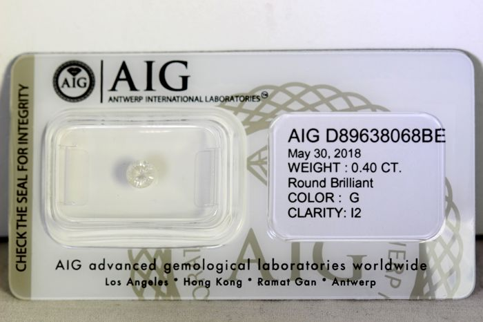 * NO RESERVE PRICE * -  AIG Antwerp Diamant - 0.40 ct - G , I2
