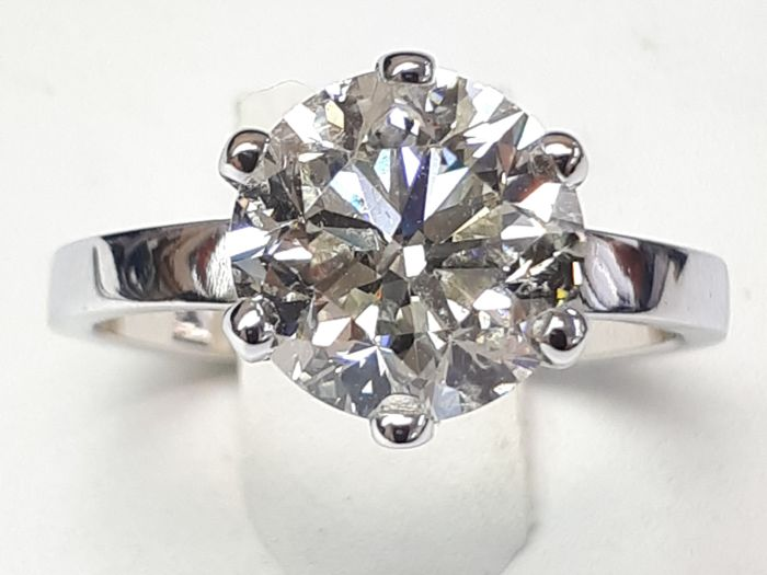 18k white gold solitaire& 3.00ct natural brilliant - AIG certified