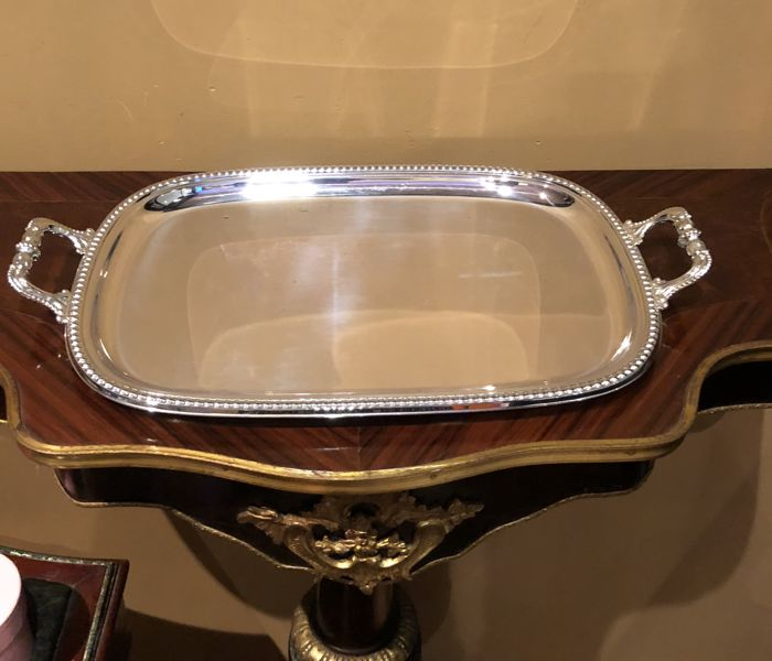 "Superb and big tray of the goldsmith PEDRO DURAN in Alpaca ""Alpadur"" Ca 1970"