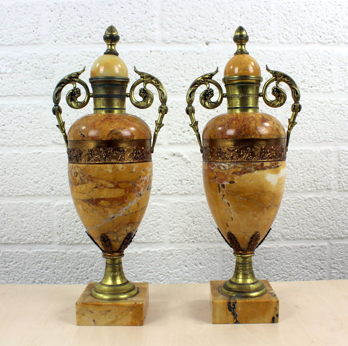 Set of decorative vases of solid SIenna marble with bronze mounts - France - circa 1900