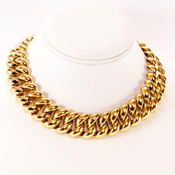 Monet chunky statement necklace - heavy chain necklace - Vintage