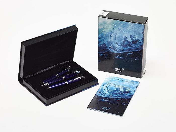 Montblanc Jules Verne 3 pieces set fountain pen, ballpoint pen and pencil, Writers Limited Edition - Brand new condition