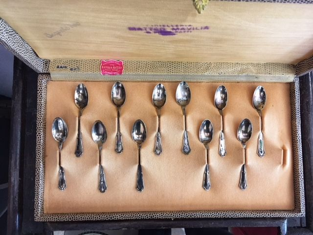 Cutlery Set of 11 coffee spoons in silver 800 - Italy - 1970s