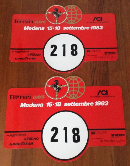 very rare Ferrari Days 1983 Event Plastic Plates  - rare Ferrari Automobilia  - 1983 (2 items)