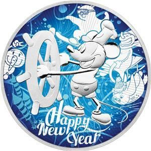 Nioué 2 Dollars 2017 Steamboat Willie Mickey Mouse Happy New Year