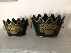 """Two old planters in lacquered metal with rounded handles """"lion's mouth"""" - circa 1900 France"""