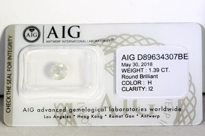AIG Antwerp Sealed Diamond - 1.39 ct - Color: H , Clarity : I2