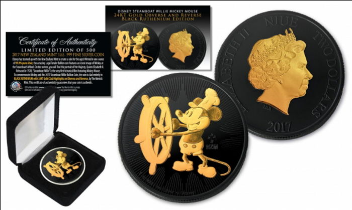 Niue - 2 Dollars 2017 Steamboat Willie Mickey Mouse - Black Ruthenium Gilded 1 oz - Argent