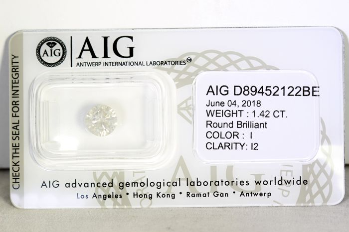 AIG Diamond - 1.42 ct - I , I2 - Excellent Cut
