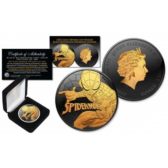 Tuvalu - 1 Dollar 2017 Marvel Spiderman - ruthenium gold-plated 1 oz - silver edition of only 500 pieces