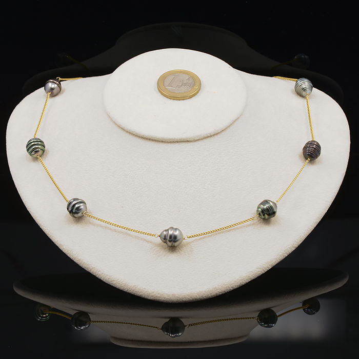 18kt/750 yellow gold necklace with Tahitian pearls – Length 53 cm. - No reserve price
