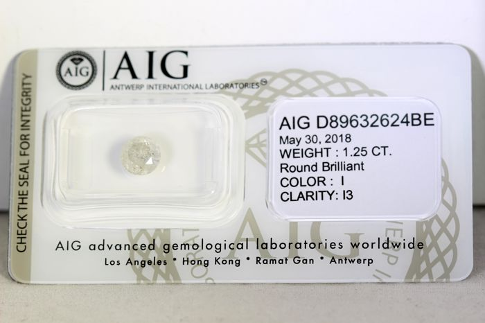 AIG Antwerp Diamond - 1.25 ct - I, I3 - * NO RESERVE PRICE *