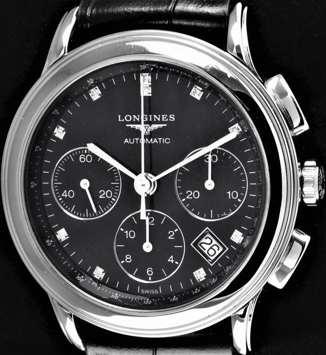 Longines - FLAGSHIP - 10 Diamonds Automatic Chronograph - Swiss Ref. No. L4.803.4 - Excellent - Warranty - Heren - 2011-heden