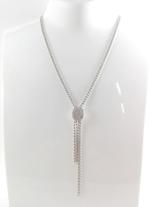 Crivelli - Women's necklace in 18 kt white gold with natural diamonds totalling 1.00 ct  Chain length 45 cm + 8 cm with pendant