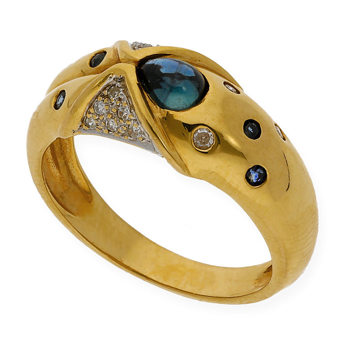 Yellow gold 18 kt - Cocktail ring - Diamonds of 0.20 ct - Sapphires of 0.30 ct - Cocktail ring size 13 (SP)
